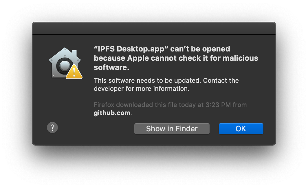 An error message showing that the computer cannot install the application.