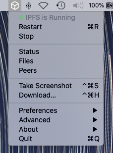 The IPFS Desktop status bar menu in the macOS status bar.