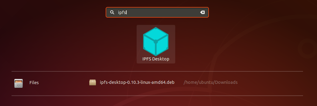 Ubuntu search screen with IPFS Desktop showing.
