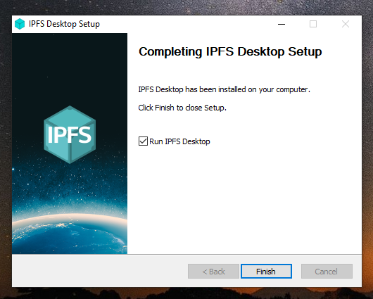 The IPFS Desktop installation finished window.