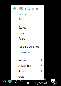 The IPFS Desktop status bar menu in the Windows status bar.