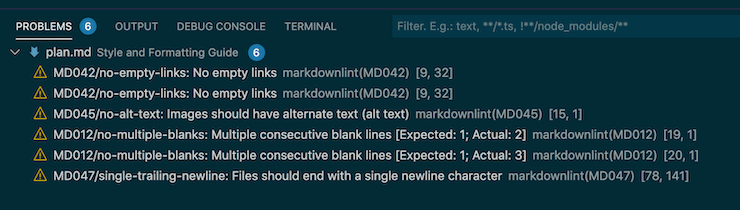 Screenshot of VSCode with a summary of markdown errors.