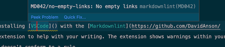 Screenshot of some Markdown in VSCode showing an error.